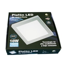 Plafón LED de superficie, cuadrado, 18 W.