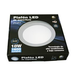 Plafón LED de superficie, redondo, 18 W.